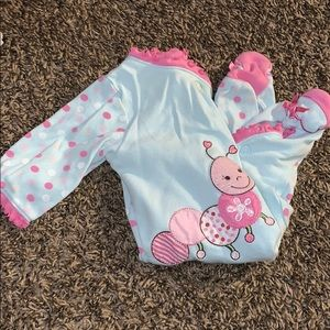 Light weight pink and blue footie pajamas